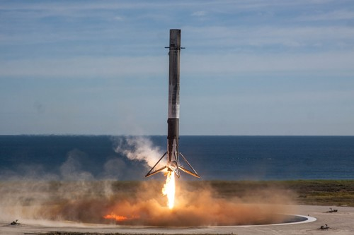 Photograph of the Falcon 9 landing on LZ-1