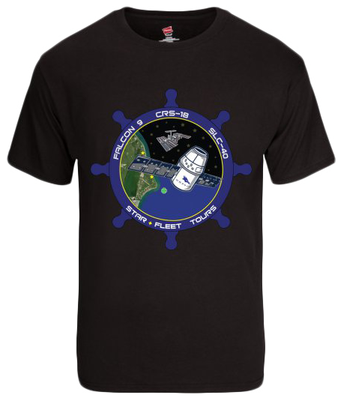 Black T-shirt with Star Fleet CRS-18 mission patch